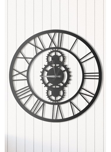 Angemiel Home Wheel Black Metal Duvar Saati Siyah